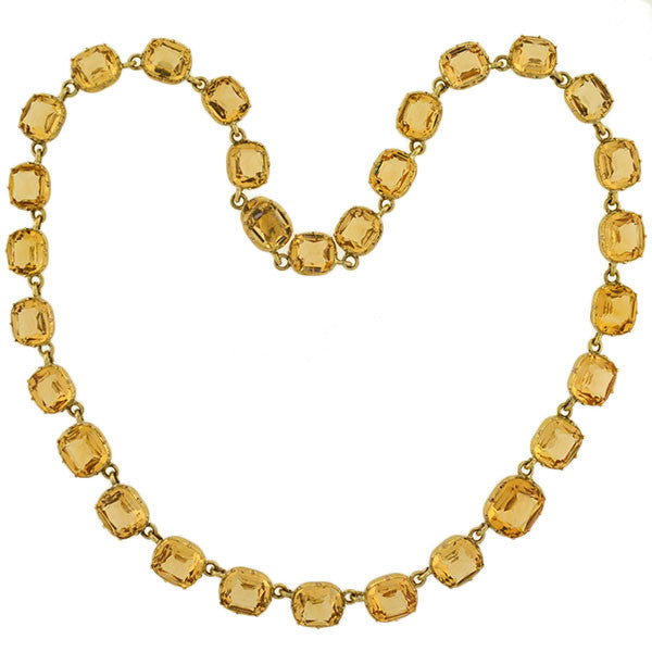 "Victorian Gold-Filled ""Champagne"" French Paste Riviera Necklace"