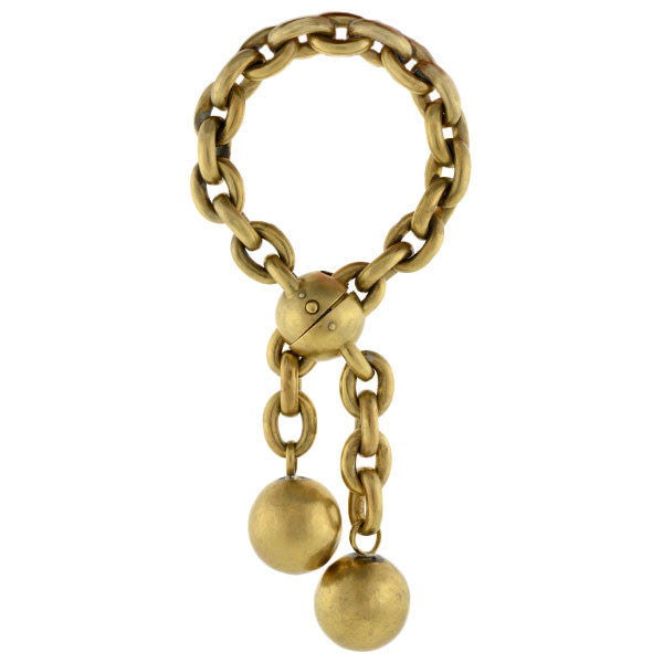 Victorian Gold Filled Link Bracelet with Ball Motif