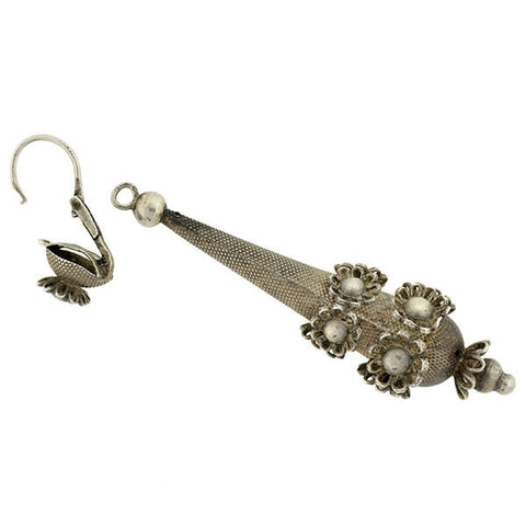 Victorian Long Sterling Flower Motif Teardrop Day/Night Earrings
