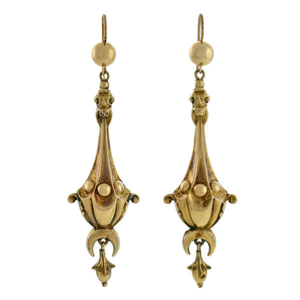 Victorian 14kt Long Dangling Vessel Earrings