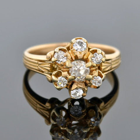 Victorian 18kt Mine Cut Diamond Cluster Ring 0.62ctw