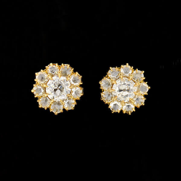 Victorian 18kt Diamond Cluster Stud Earrings 1.25ctw
