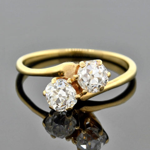 "Victorian 14kt Mine Cut Diamond ""Moi Et Toi"" Bypass Ring .75ctw"