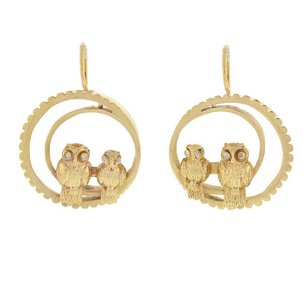 Late Victorian 14kt Gold & Diamond Owl Crescent Earrings