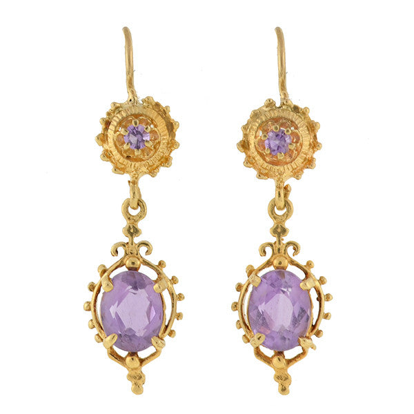 Victorian Revival 14kt Amethyst Earrings