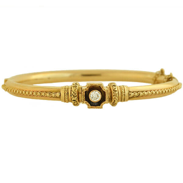 Victorian Revival 14kt Diamond Bangle Bracelet