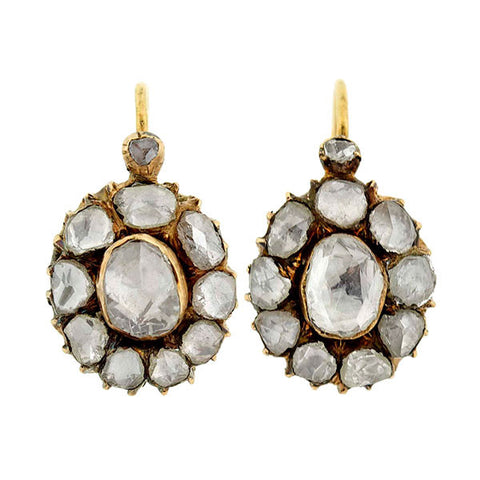 Victorian 18kt Rose Cut Diamond Cluster Earrings 2ctw