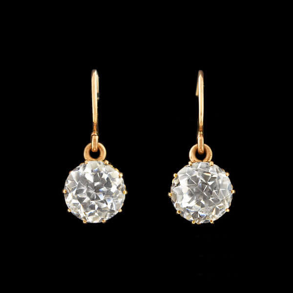 Victorian 14kt French Paste Earrings 4.00ctw