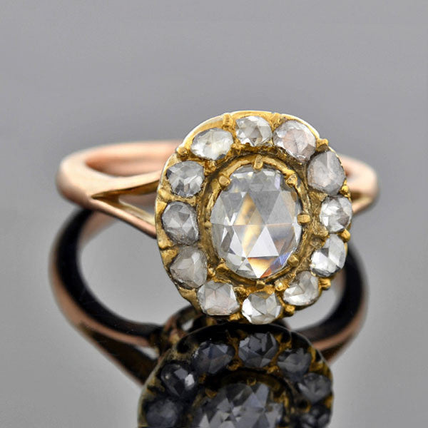 Victorian 14kt Rose Cut Diamond Cluster Ring 1.25ctw