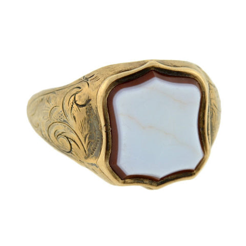 Victorian Sterling Gilt & Agate Signet Locket Ring
