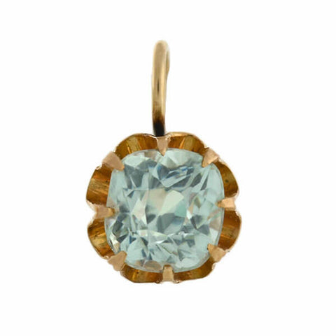 "Victorian 14kt ""Aquamarine"" French Paste Earrings"