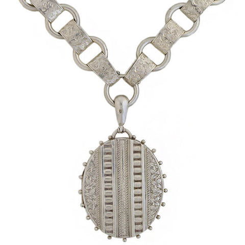 Victorian Sterling Book Chain + Repousse Locket Necklace