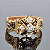 Victorian 18kt Diamond Tracery Enamel Ring 0.60ctw