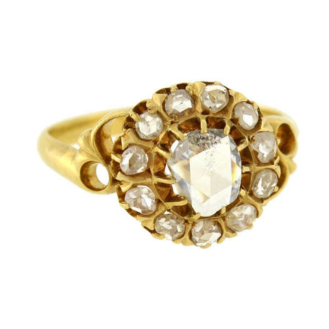 Victorian 18kt Rose Cut Diamond Cluster Ring 1.15ctw