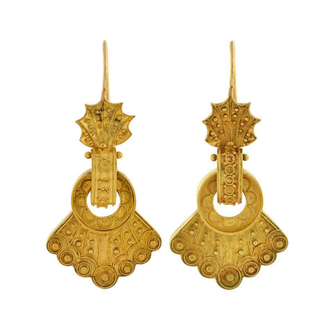 Victorian 15kt Gold Etruscan Fan Earrings