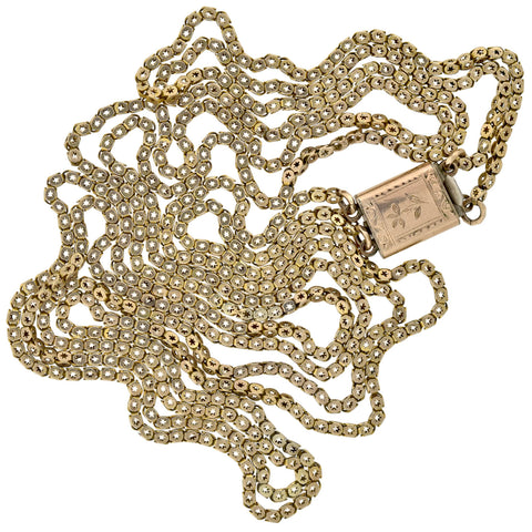 Victorian 10kt Star Motif Double Strand Chain Link Necklace 31.5""