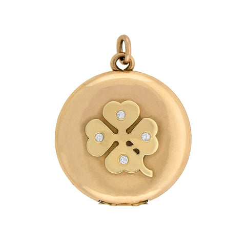 Late Victorian 14kt Diamond 4-Leaf Clover Locket 0.15ctw