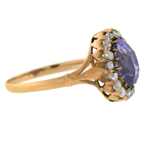 Victorian Natural Color Changing Sapphire + Diamond Cluster Ring 1.50ctw
