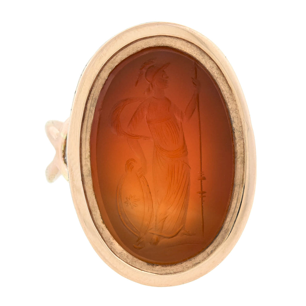 Victorian Large 14kt Carved Carnelian Intaglio Signet Ring