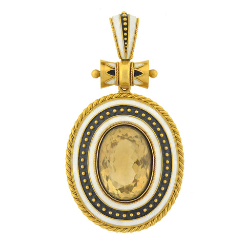 Victorian Large 15kt Enameled Citrine Locket/Pendant