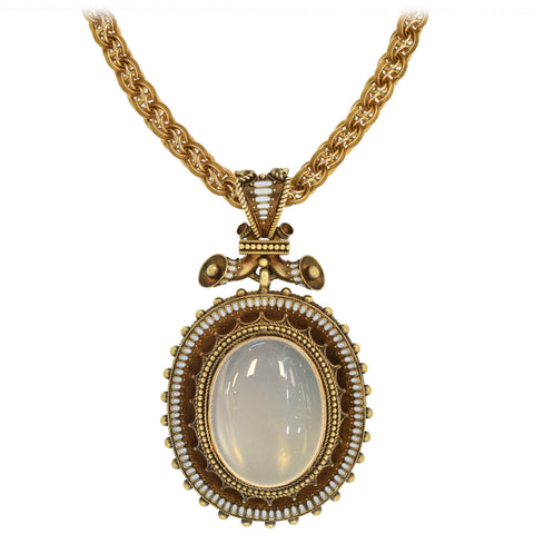 Victorian Large 18kt Enameled + Moonstone Pendant Necklace