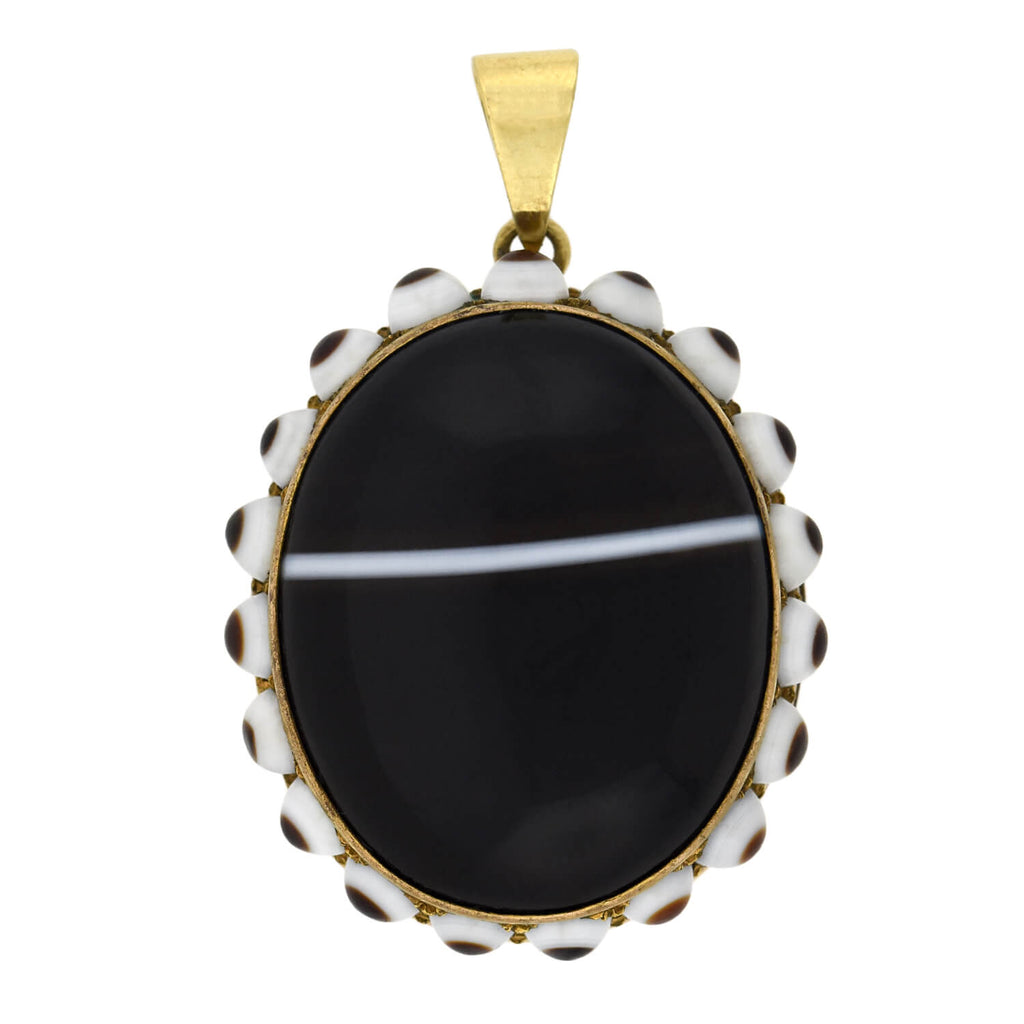 Victorian Large Gold-Filled Banded Agate Pendant