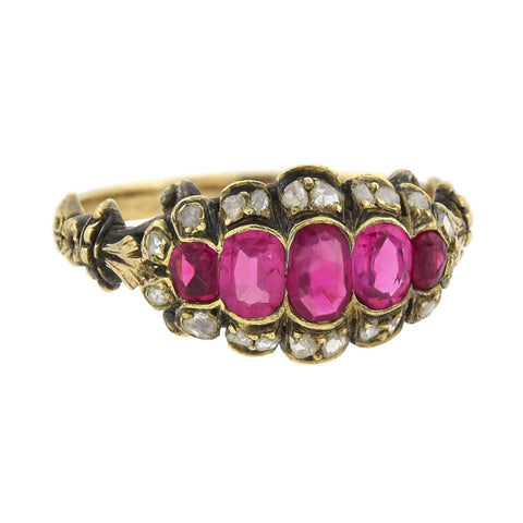 Victorian 18kt/Sterling Silver Burmese Ruby + Diamond Ring