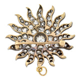 Victorian 15kt Sterling Topped Diamond Sunburst Pin/Pendant 7+ctw