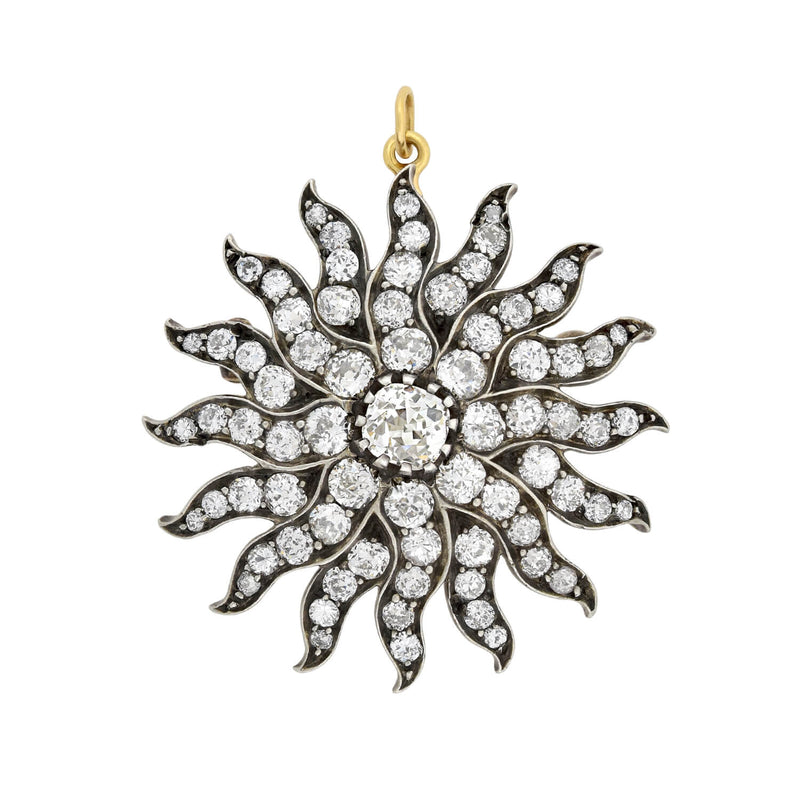 Victorian 18kt Old Rose Cut Diamond Star Pendant
