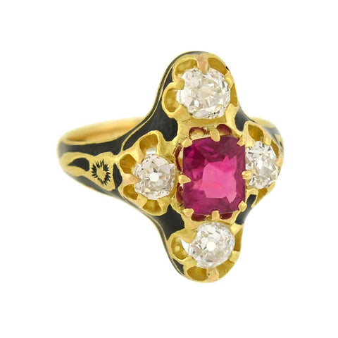 Victorian 18kt Natural No Heat Burma Ruby + Diamond Enamel Ring