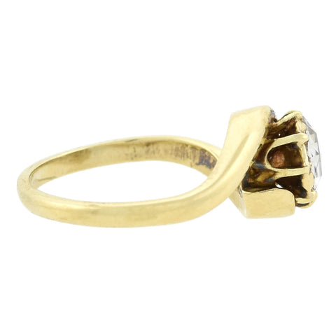 Victorian 14kt Closed Back Rose Cut Diamond Ring 0.55ctw