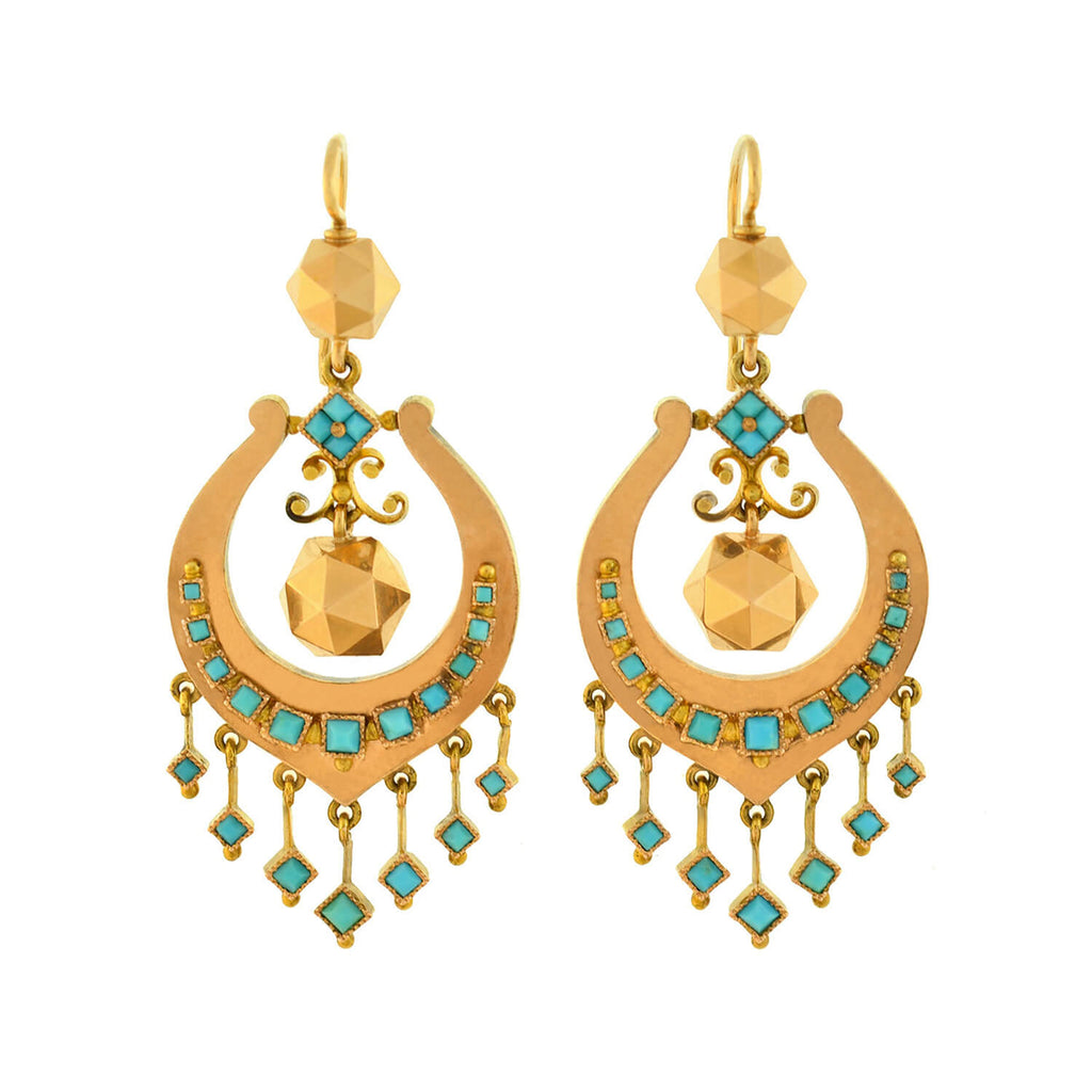 Victorian 18kt Persian Turquoise + Faceted Gold Ball Dangling Earrings