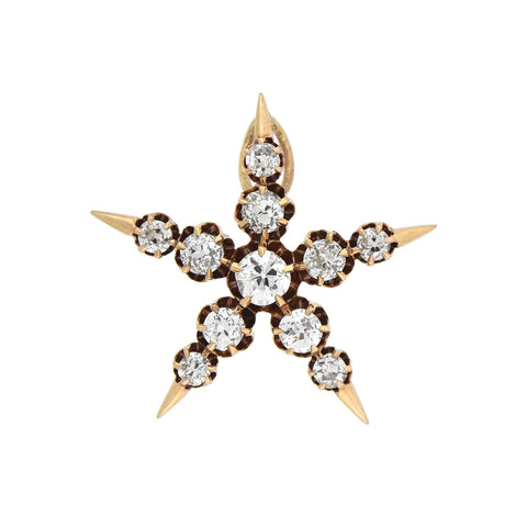 Victorian 14kt Mine Cut Diamond 5-Point Star Pendant 0.80ctw
