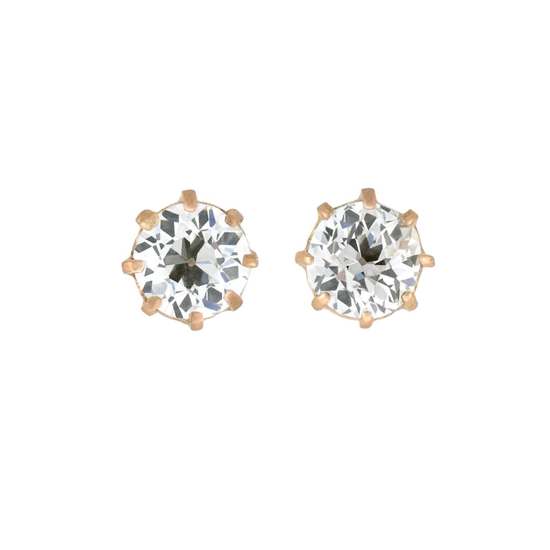 Estate 18kt Enameled + Diamond Panther Stud Earrings