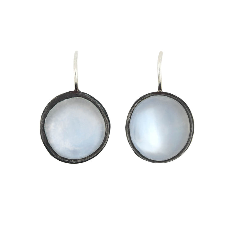 Victorian 18kt Moonstone Etched Left/Right Hoop Earrings