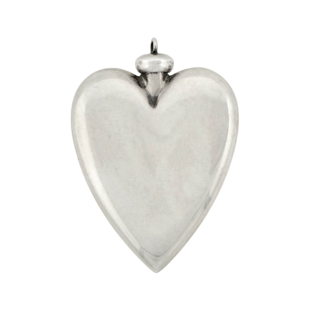 Victorian Sterling Silver Heart-Shaped Perfume Bottle Pendant