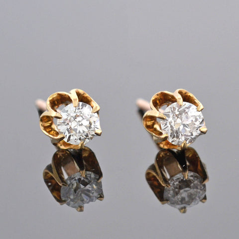 Victorian 14kt Old Mine Cut Diamond Stud Earrings 0.45ctw
