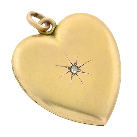 Victorian 10kt Rose Cut Diamond Starburst Heart Locket