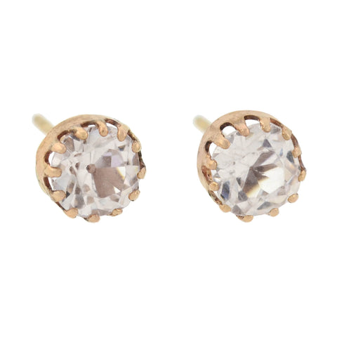 Victorian 14kt French Paste Old Mine Cut Stud Earrings
