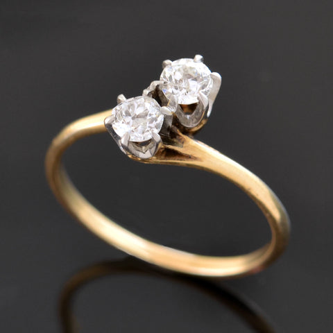 "Edwardian 14kt Two Tone ""Moi et Toi"" Diamond Bypass Ring 0.70ctw"