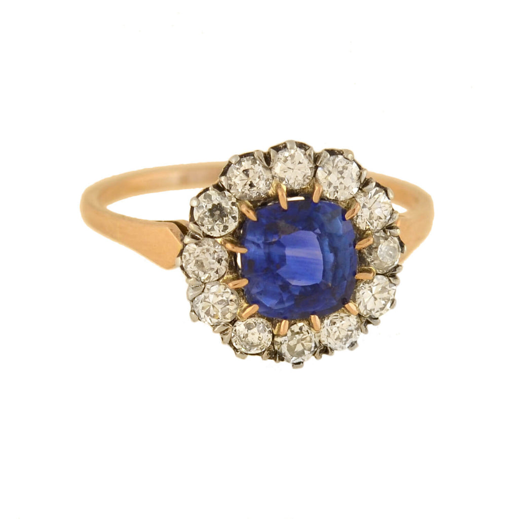 Victorian 18kt/Sterling Sapphire + Diamond Cluster Ring 1.00ct center