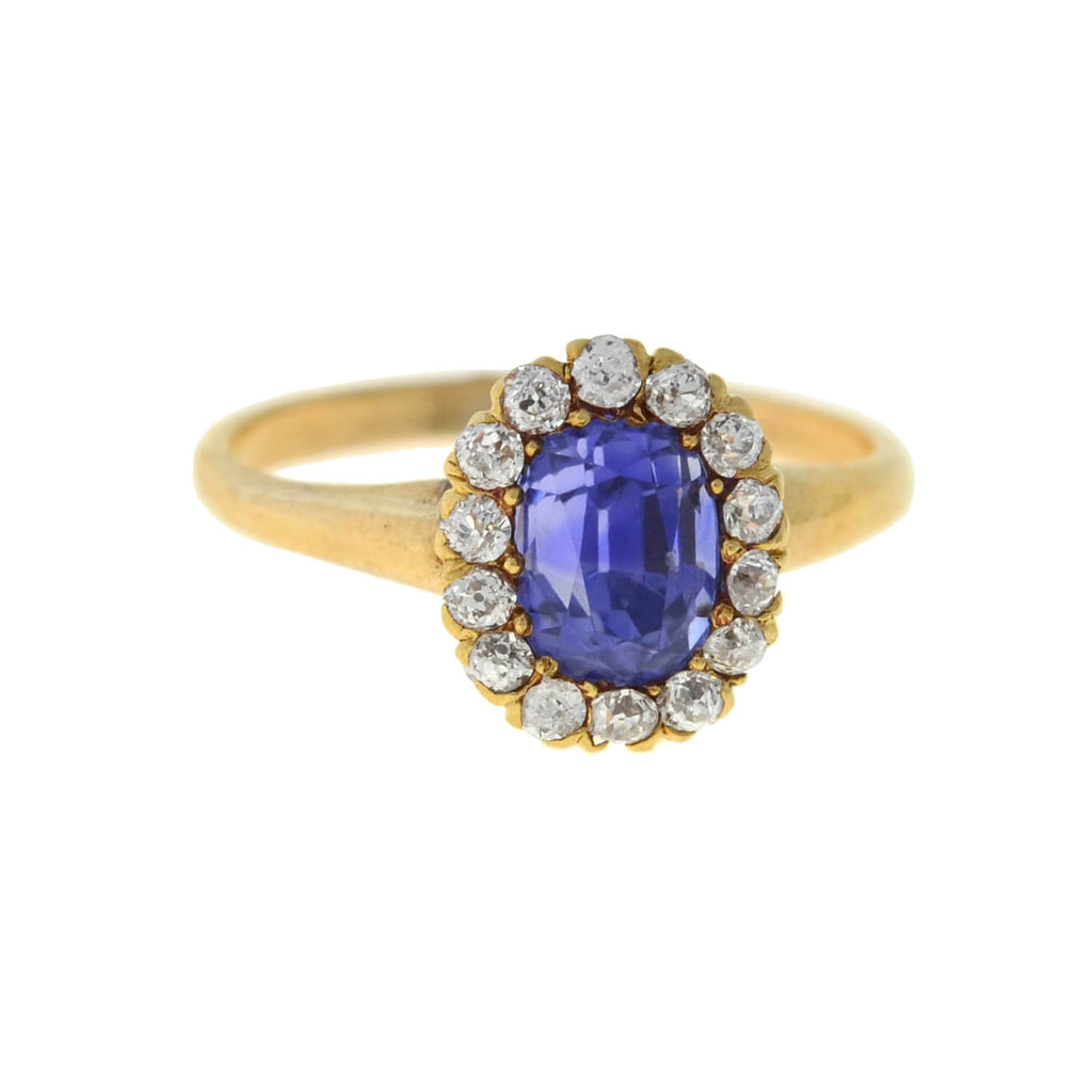 Victorian 14kt Petite Sapphire + Diamond Halo Ring 1.00ct center