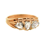 Victorian 18kt Rose Cut Diamond 3-Stone Ring .70ctw