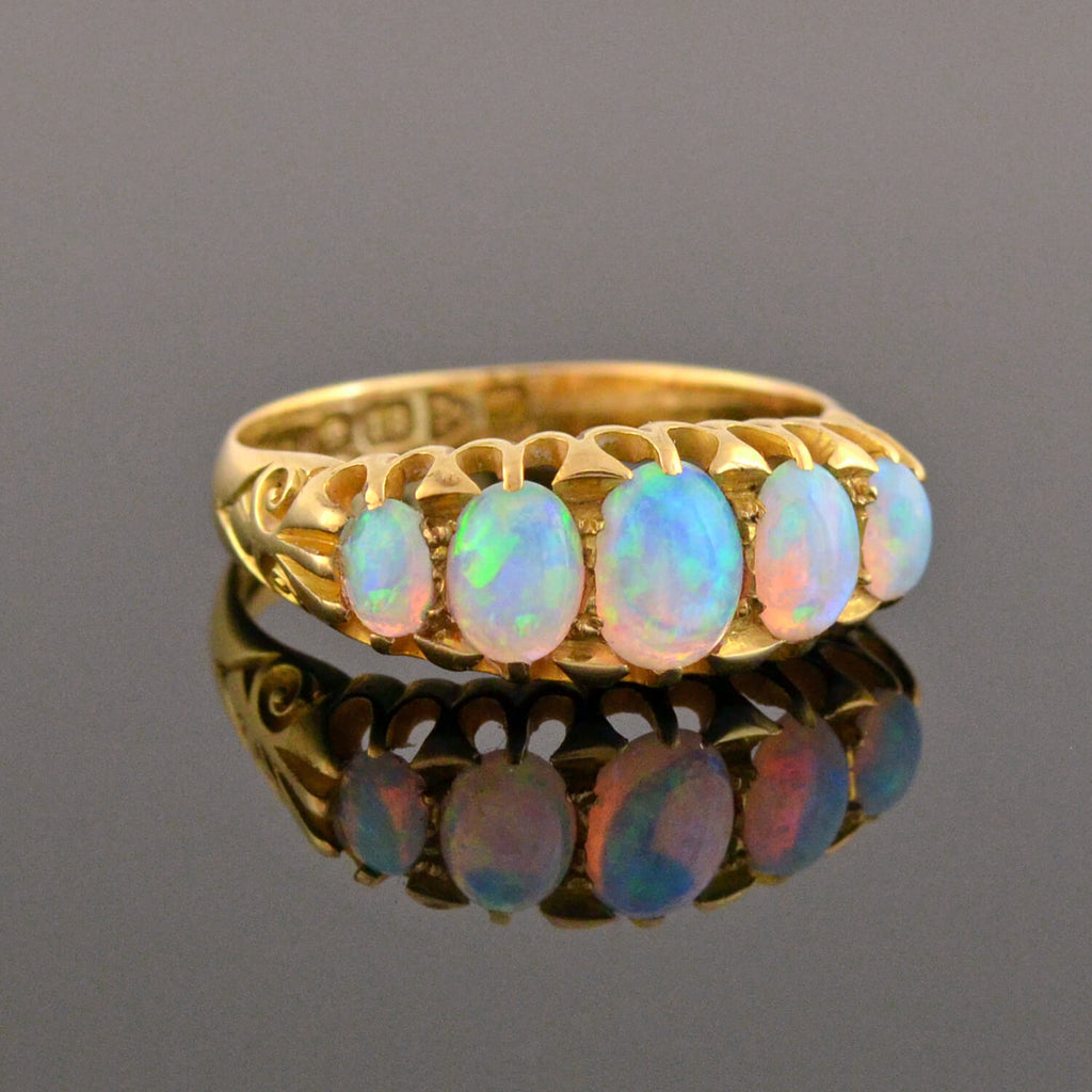 Art Nouveau English 18kt 5-Stone Opal Ring