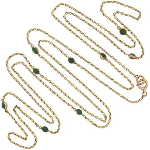 Victorian Long 9kt Turquoise Link Chain Necklace 56.5""