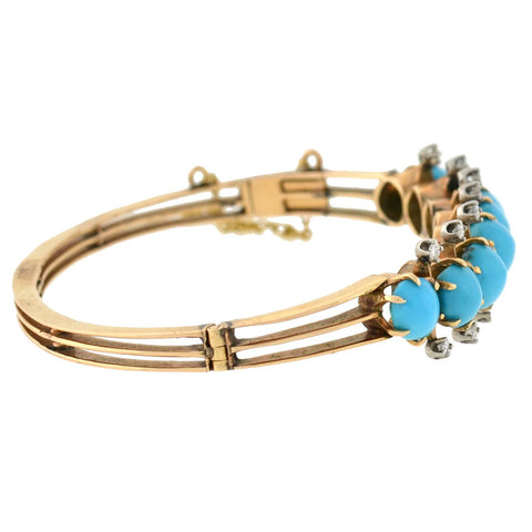Victorian 14kt Persian Turquoise Diamond Hinged Bracelet
