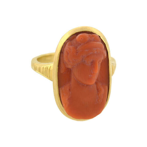 Victorian 18kt Carved Natural Coral Cameo Ring