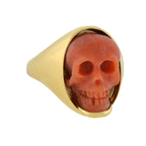 Victorian Style 18kt Hand Carved Natural Coral Skull Ring