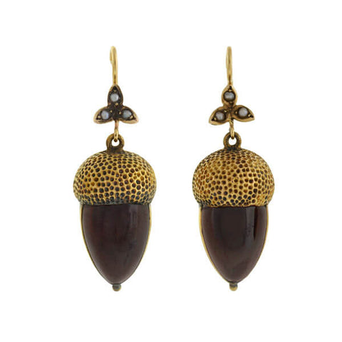 Victorian 14kt Garnet & Seed Pearl Acorn Earrings