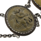 Victorian Sterling + Carved Multi-Colored Lava Cameo Necklace 15